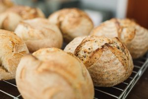 Yeasted bread and rolls, white or brown, also available.
